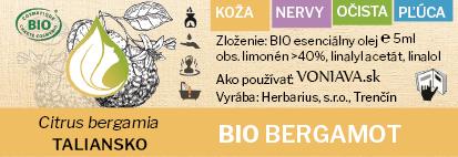 EO Organický BERGAMOT etiketa Voniava