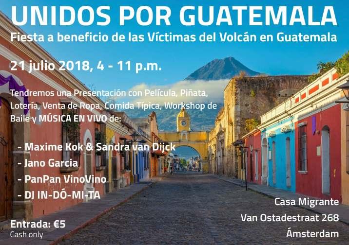 Flyer benefiet voor de slachtoffers van de vulkaar in Guatemala - ES
