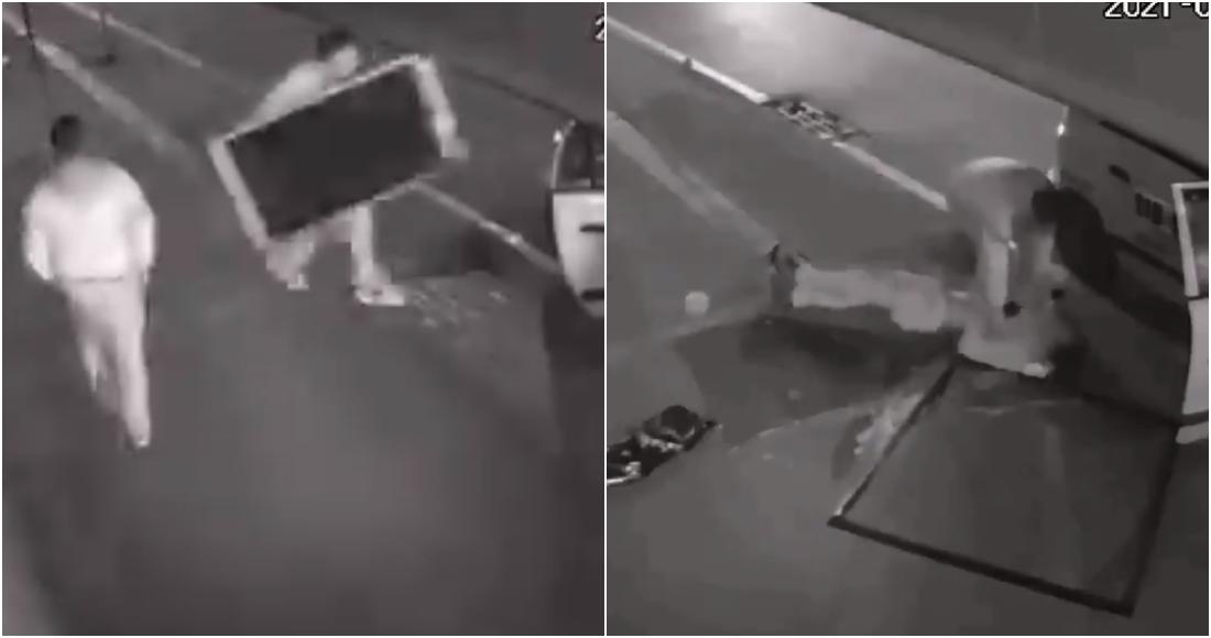 Ladrón cae de segundo piso en Colombia