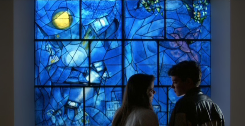 Chicago - Sloan e Ferris no Art Institute com vitral de Marc Chagall