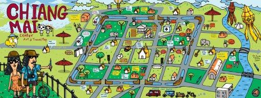 Mapa ilustrado - Chiang Mai na Tailandia by Chaloempon Khuankhong