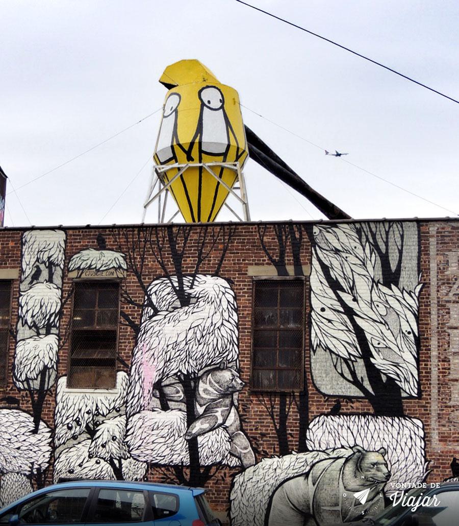 Arte de rua no Brooklyn NY - Mural dos ursos em Bushwick