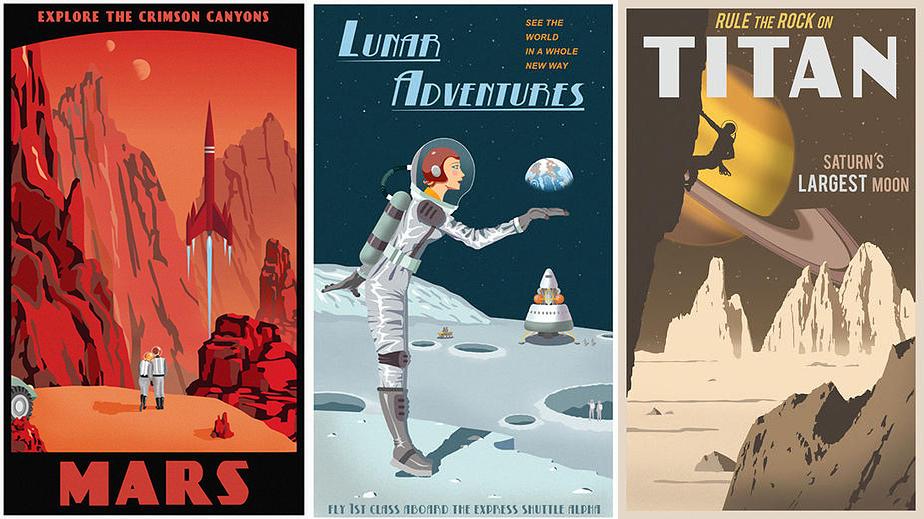Poster viagem no espaco - Steve Thomas - Viagem a Marte Lua Saturno