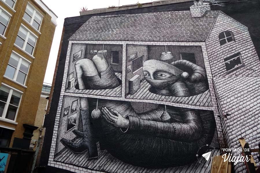 Street art Londres - mural do artista britanico Phlegm em Shoreditch
