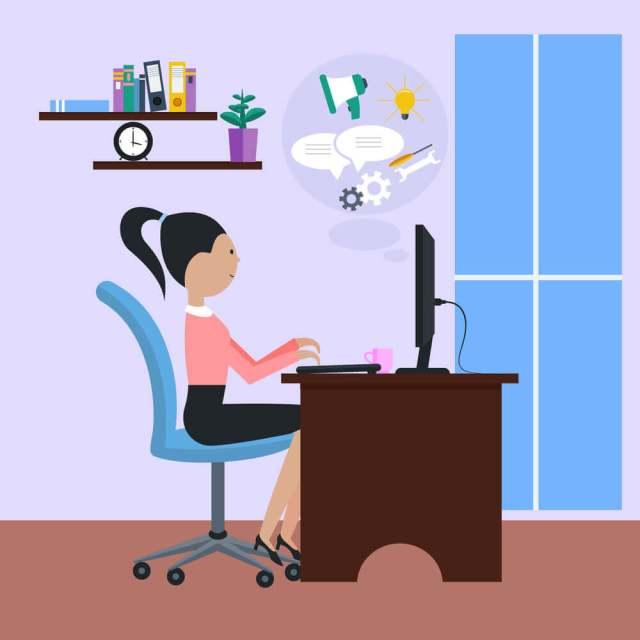 Ilustração de uma mulher trabalhando numa mesa de escritório