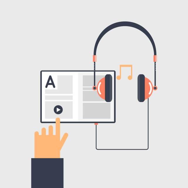 Mão clicando play em um tablet conectado a um fone de ouvido. Acessibilidade Digital.