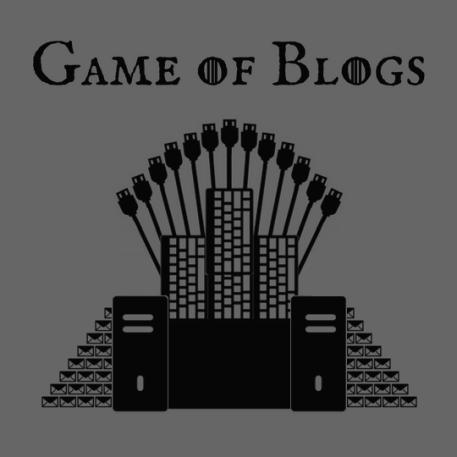 Ilustração de uma paródia do trono de ferro do seriado Game of Thrones, onde o trono é feito por CPUs, cabos USB, teclados e envelopes.