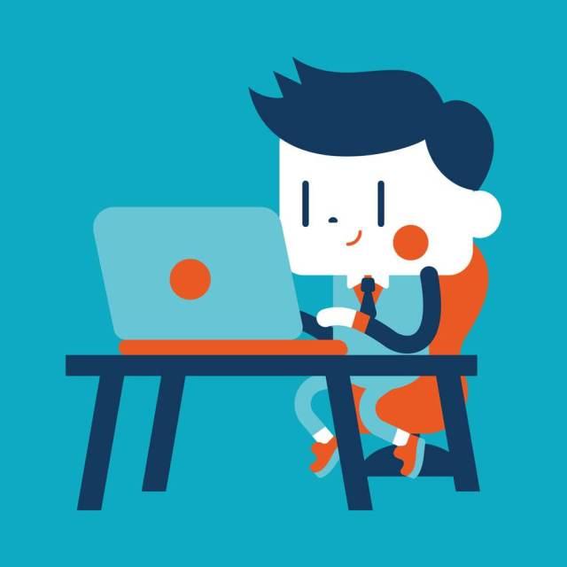 Ilustração de um homem em frente à tela do notebook animado para ler.