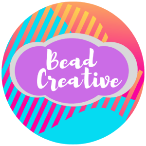 """Text reads, """"Bead Creative"""" in bright colors"""