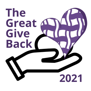 """Image of a hand holding a heart. Text reads, """"The Great Give Back"""""""