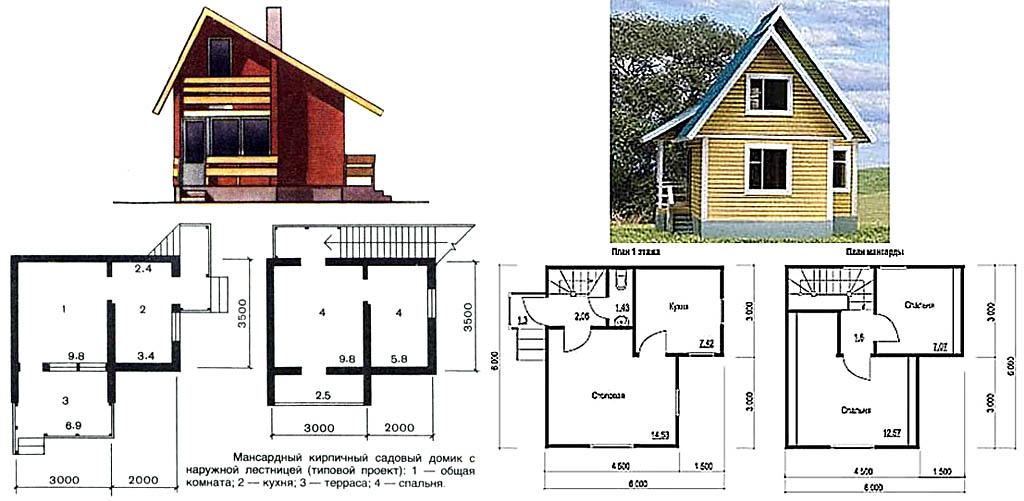 Penampilan dan tata letak rumah-rumah negara berukuran kecil 2 lantai dari batu bata dan kayu