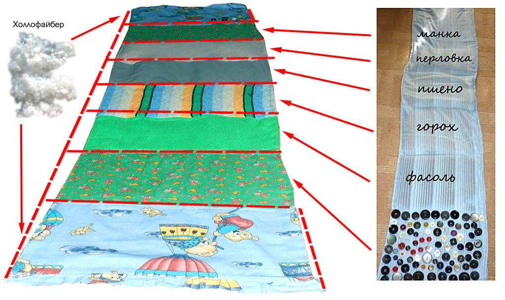 Набивной массажный коврик-дорожка