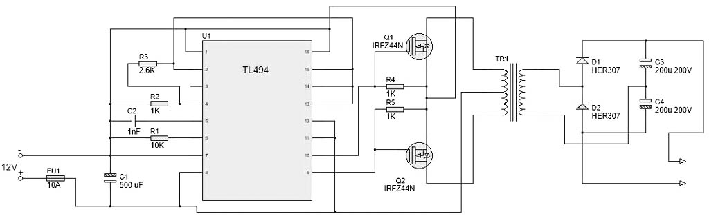 Схема преобразователя 12-220 В DC 1000 Вт