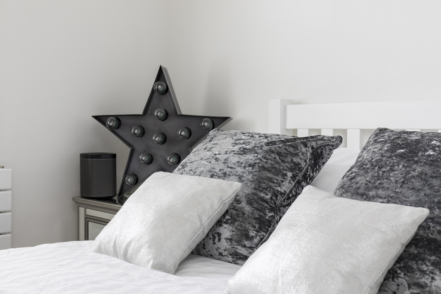 0605 grey and white bed pillows and cushions and grey star light decoration