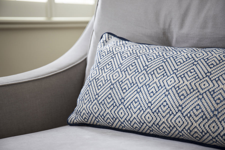 0631 interior design grey sofa and blue pattern cushion