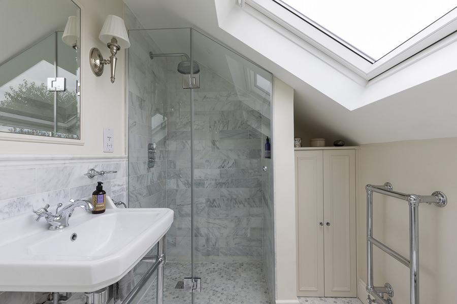 0631 ensuite bathroom shower under sloped ceiling in south west london