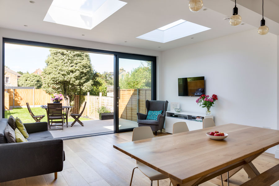 0558 rectangular dining table and living area in a rear extension