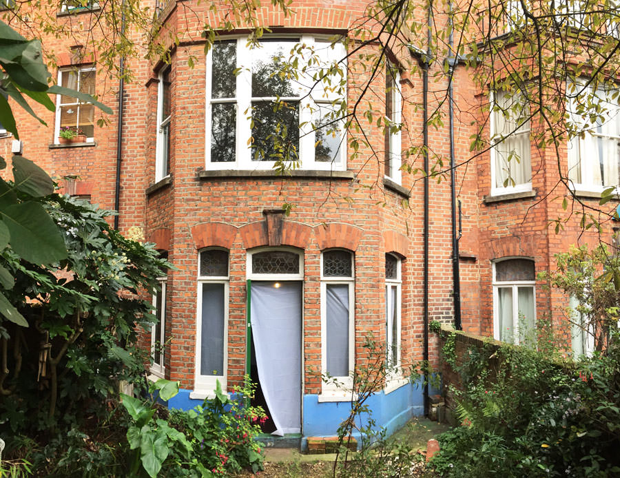 0736 external facade with two bay windows before refurbishment in west hampstead