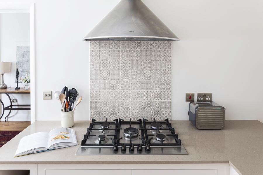 0736 beige fired earth tiles splash back kitchen