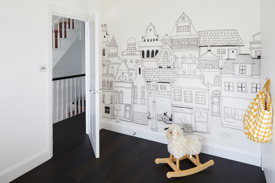 0848 houses children room wallpaper to colour and rocking sheep in earsfield SW18