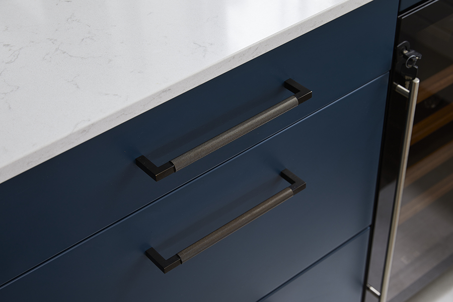 blue kitchen cabinets knurled handles