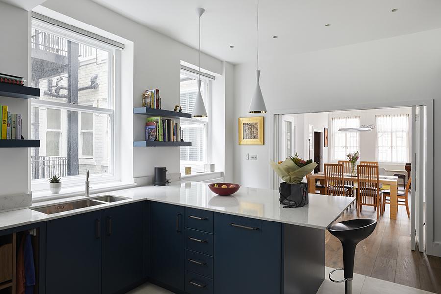 modern blue luxury kitchen London roundhouse design