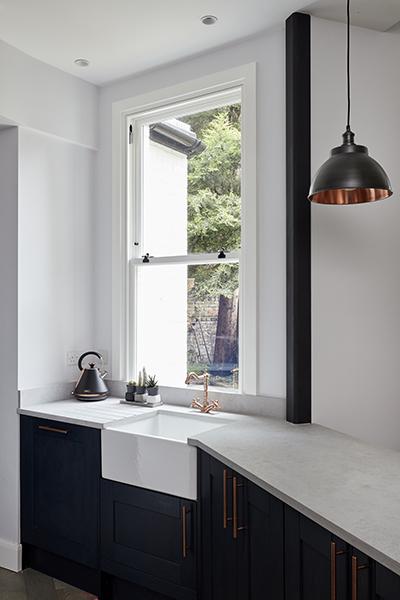 copper kitchen tap lights blue kitchen