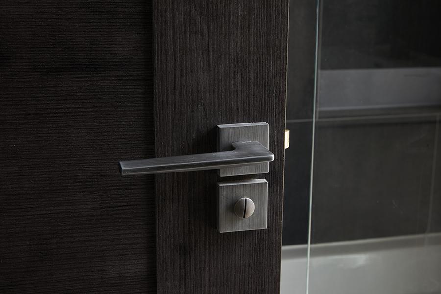 dark wood bathroom door