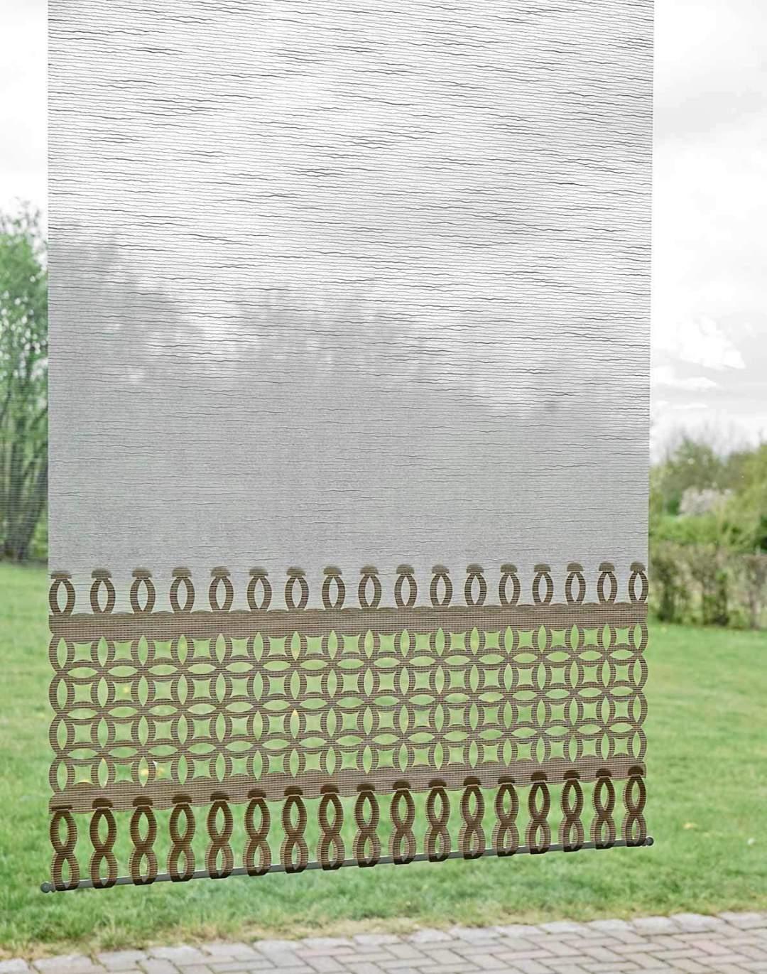 Flächenvorhang Lasercut 60 cm breit Kundenfoto Variante Stuttgart