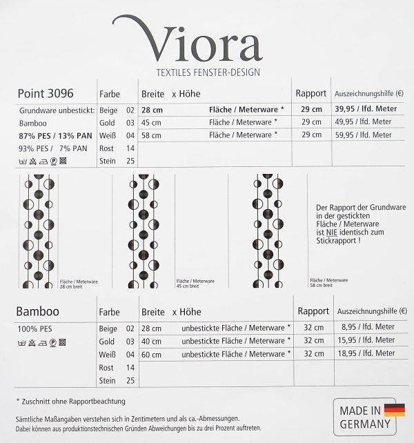 Moderne Viora Gardinen Moderner Flächenvorhang Viora Point Datenblatt