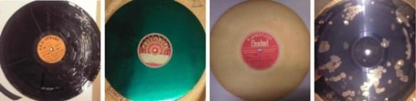 vlnr: glazen plaat waarvan de laklaag los is gebladderd; metalen plaat met groenige lak (niet gesneden); kartonnen plaat van Peekel geluidstudio (de vader van Han); kunststof plaat met aangetast pigment