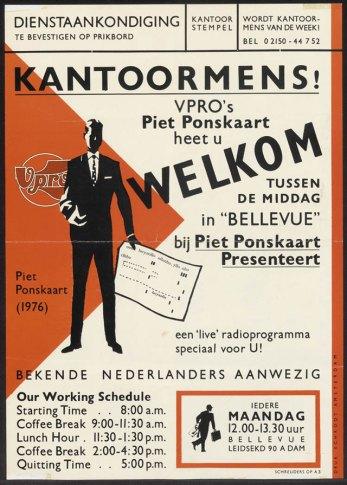 Affiche van Piet Schreuders voor VPRO-radio uit 1976. Bron: Affiche Museum Hoorn