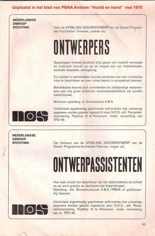 Advertentie Decorontwerp mei 1970 kopie