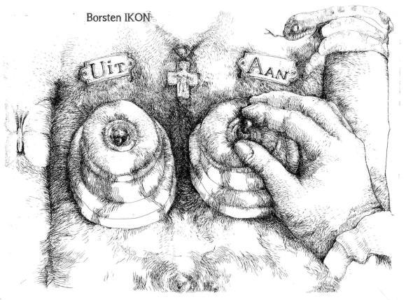 Borsten (IKON, 1981), drie delig programma van Marion Bloem. Collectie Dorus van der Linden