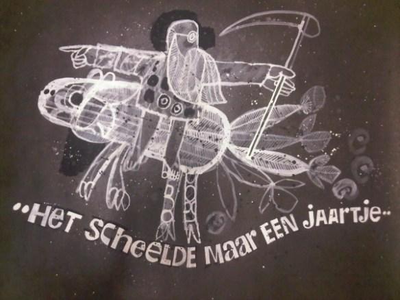 Fragment uit een titerol van Hans de Cocq voor programma Het scheelde maar een jaartje (VARA, 31-12-1965) Collectie Beeld en Geluid