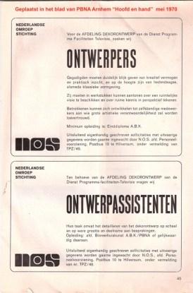 Advertentie voor ontwerper en ontwerpassistenten van mei 1970. Collectie Nick de Weerd