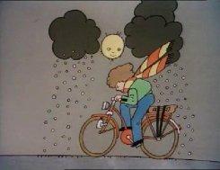 Morgen regen. Johan Volkerijk illustreert het weerbericht voor het Jeugdjournaal.