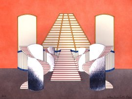 Decorontwerp voor De Willem Ruis Lotto show (VARA 1981-1984), decor: Hub Berkers. Collectie Hub Berkers / NIBG