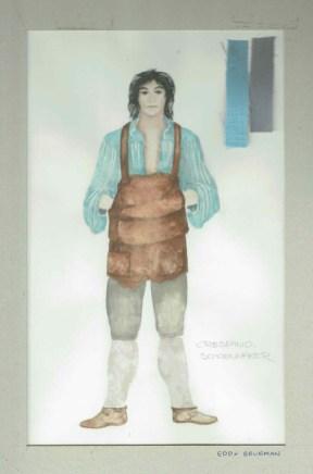 Kostuumontwerp voor schoenmaker Crespino uit De Waaier (Haagse Comedie, 1977). Ontwerp Hans Christiaan. Bron: Marjolein Sligte