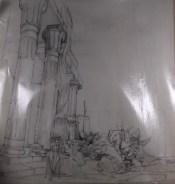Fragment van decorschets Rusttuin van de Pharao, productie en datum niet bekend. Decorontwerp Peter Zwart. Collectie Peter Zwart/NIBG