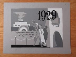 Titelkaart met illustratie en handlettering van Jan van der Does. Deze illustratie zou kunnen horen bij De oude draaidoos of bij eenakter La Prétentaine (Goede reis, AVRO, 20-8-1959). Collectie Jan van der Does