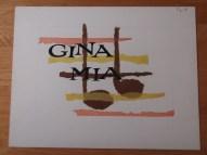 Titelkaart met handlettering van Jan van der Does. Gina Mina is de titel van een hitje van Giacomo Rondinella uit 1953. Collectie Jan van der Does