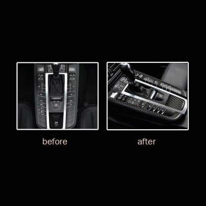 pcmos Real Carbon Fiber Car Inner Gear Shift Frame Cover Trim For Porsche Macan 2014-2019 Interior Accessories Sticker Mouldings
