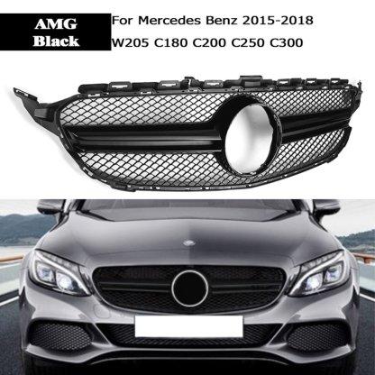 YuBao 1Pcs For Mercedes Benz C-Class W205 C180 C200 C250 C300 15-18 Front Grille AMG Silver Black