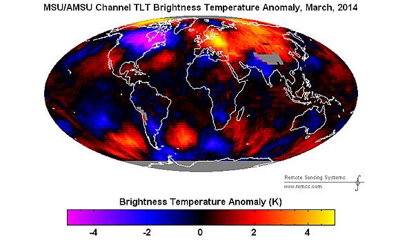 March 2014 satellite temperature anomalies