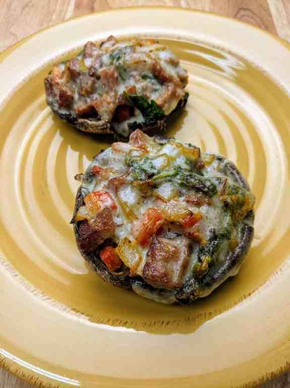 Vortex Air Fryer Sausage Stuffed Portabello Mushrooms w/ Balsamic