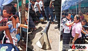 Cae poste sobre dos mujeres en la zona Centro de Tuxtla