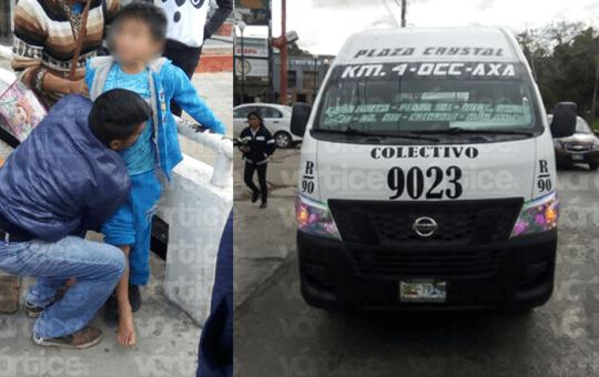 Colectivero atropella a joven y dos menores en Tuxtla