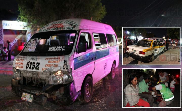 Taxista pierde el conocimiento y causa accidente en Terán; hay cinco heridos