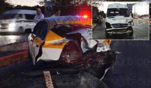 Chocan transportes públicos en Tuxtla y taxista resulta herido